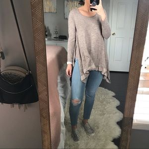 Boutique Brown Waterfall Hem Sweater